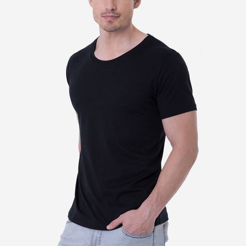 Fierri Pima Cotton Black Open Crew Neck T shirt