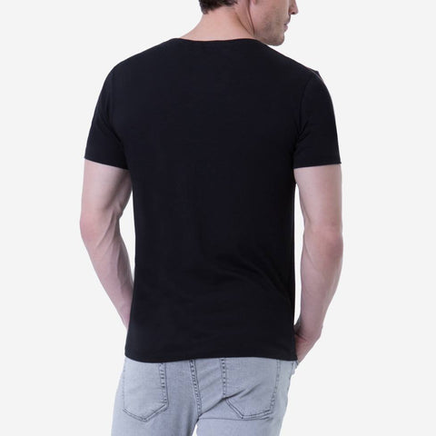 Fierri Pima Cotton Open Crew Neck Black Tee Back