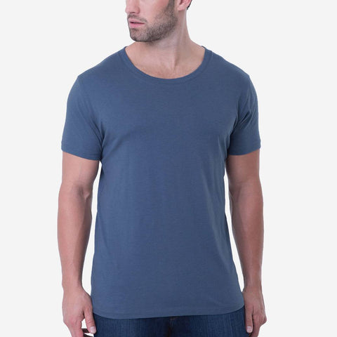 Fierri Pima Cotton Blue Open Crew Neck T shirt