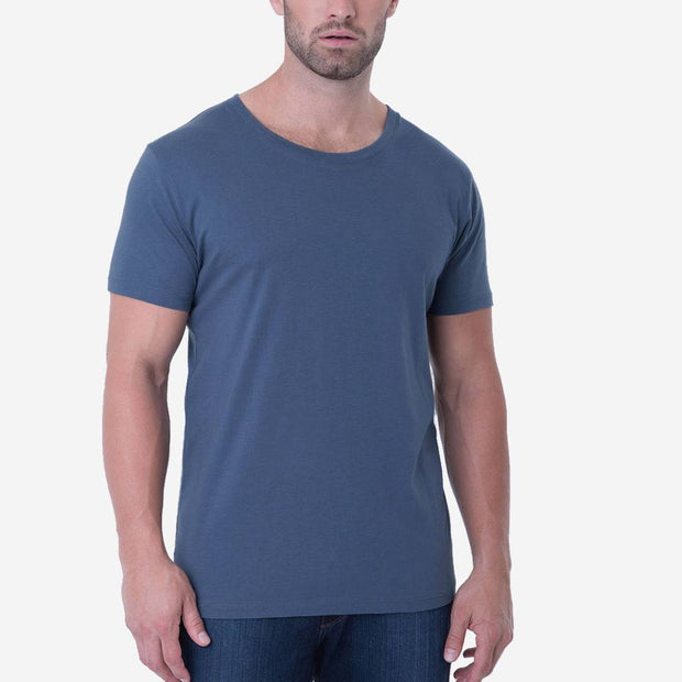 Fierri Pima Cotton Blue Open Crew Neck Mens T-shirt