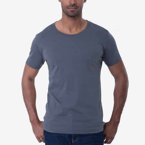 Fierri Pima Cotton Open Crew Neck Grey T