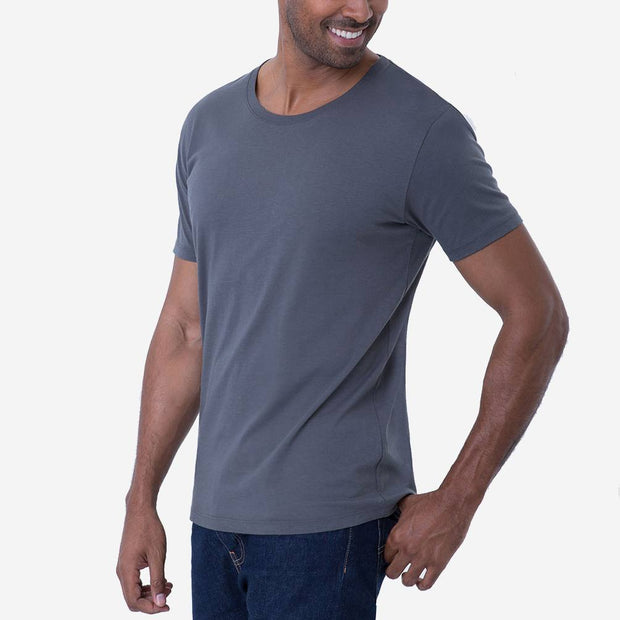 Fierri Pima Cotton Open Crew Neck Grey Tee