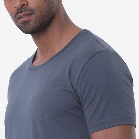 Fierri Pima Cotton Open Crew Neck Grey T-shirt Close up