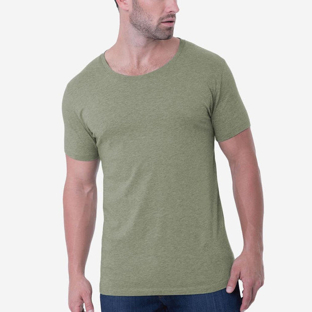 Fierri Pima Cotton Open Crew Neck Heather Green T shirt
