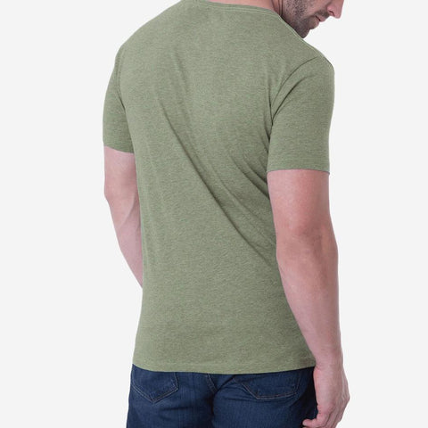 Fierri Pima Cotton Open Crew Neck Heather Green T-shirt Back