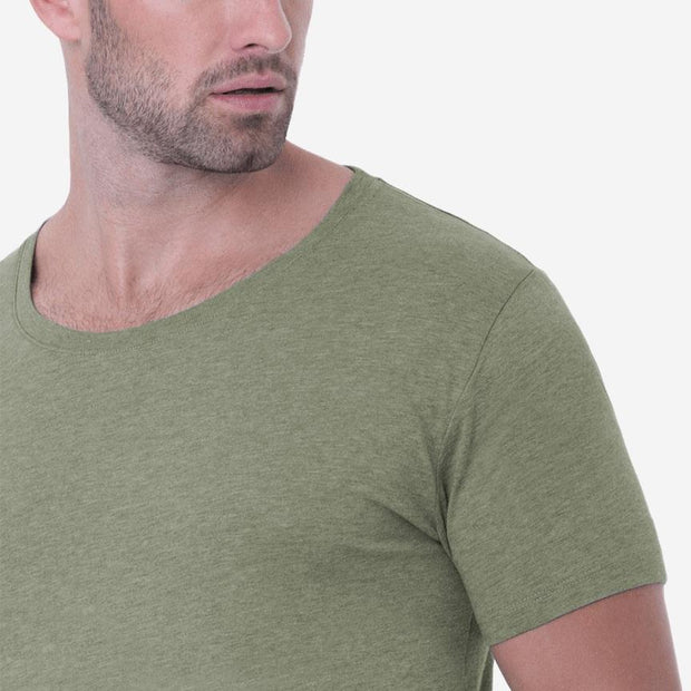 Fierri Pima Cotton Open Crew Neck Heather Green Tee Close Up