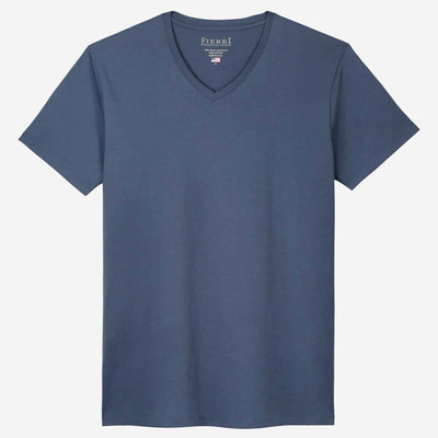 Fierri Pima Cotton V Neck Blue Short Sleeve T shirt