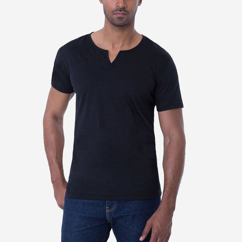 Egyptian Cotton Slit V Perfect Black T-shirt