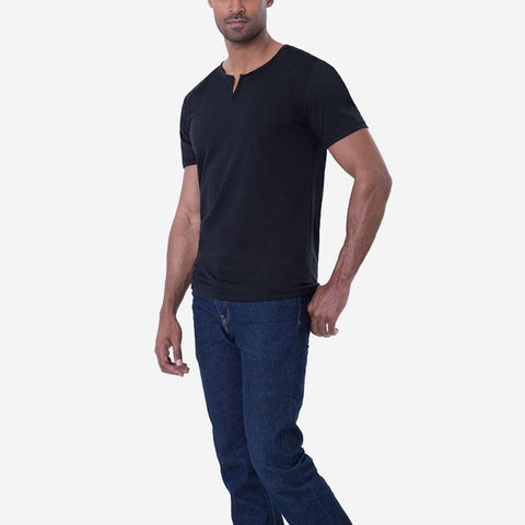Egyptian Cotton Slit V Black T shirt Relaxed