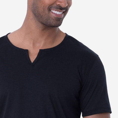 Egyptian Cotton Slit V Black Fierri T-shirt Closeup