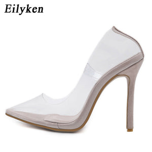 a358cd438f24 Eilyken Clear PVC Transparent Pumps Sandals Perspex Heel Stilettos High  Heels Point Toes Womens Party Shoes