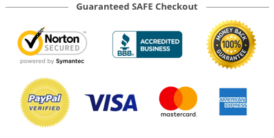 Norton Secured - BBB Acredited Business - 100% Money Back Guarantee - Paypal Verified - Visa - Mastercard - American Express