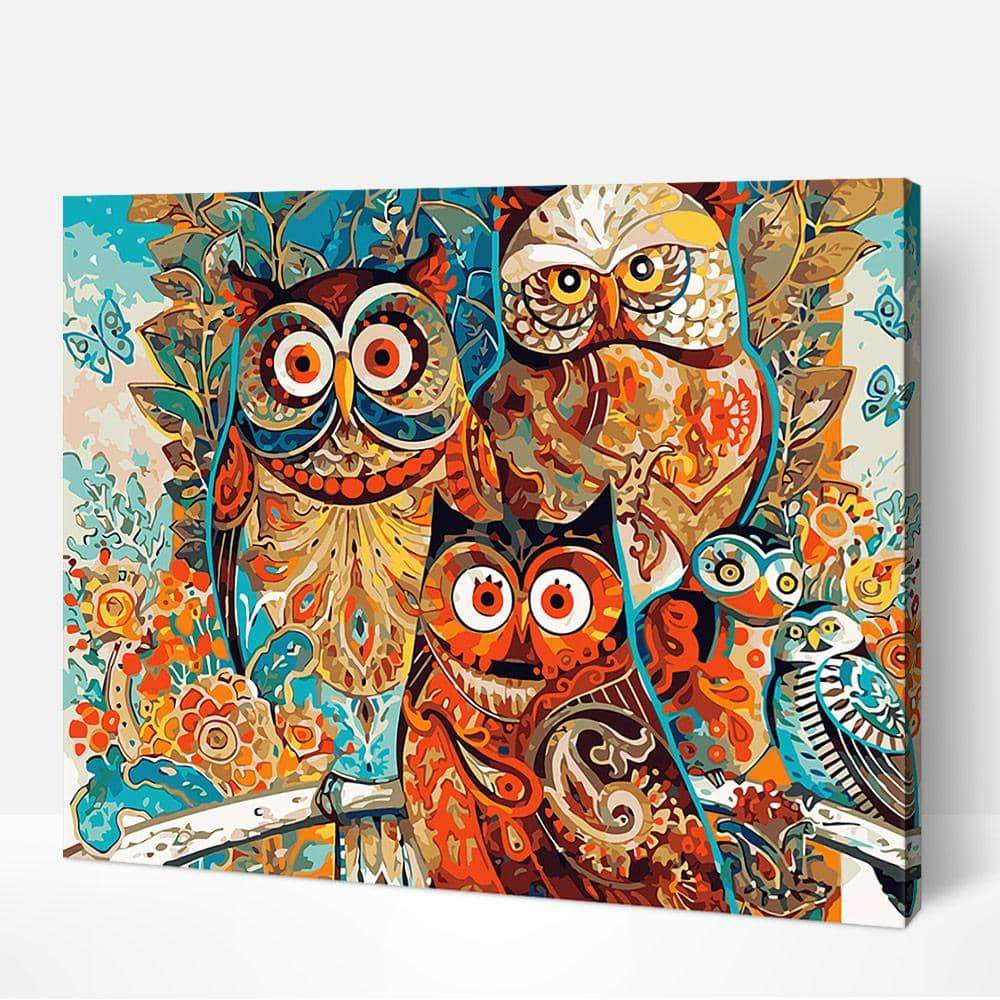 Abstract Owls - Paint by Numbers Kits for Adults DIY - Paint by Numbers for Adults