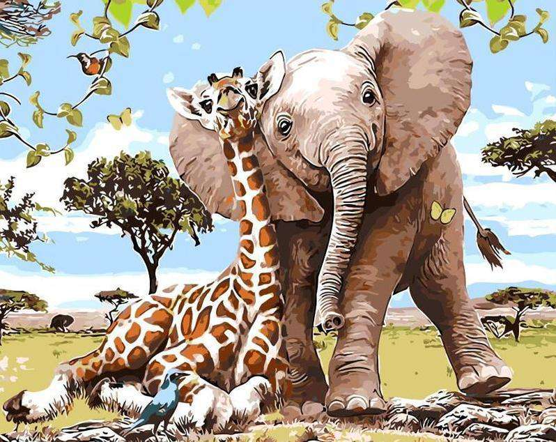Animal Friends Elephant & Giraffe - Paint by Numbers Kits for Adults DIY