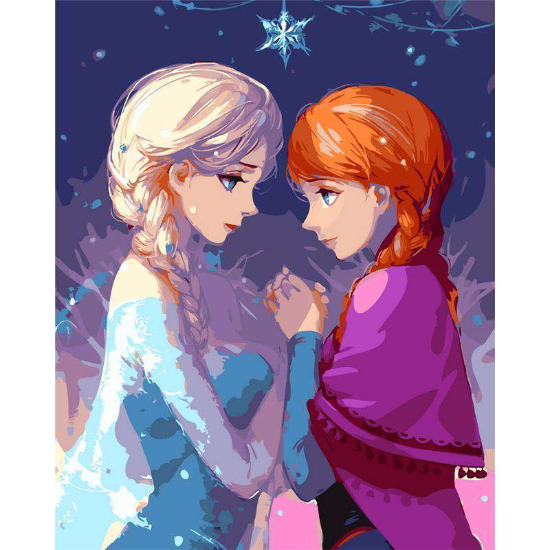 Anna and Elsa - Frozen - Paint by Numbers Kits for Adults DIY - Paint by Numbers for Adults