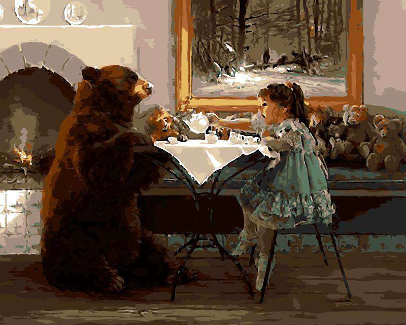 Bear with Girl - Paint by Numbers Kits for Adults DIY