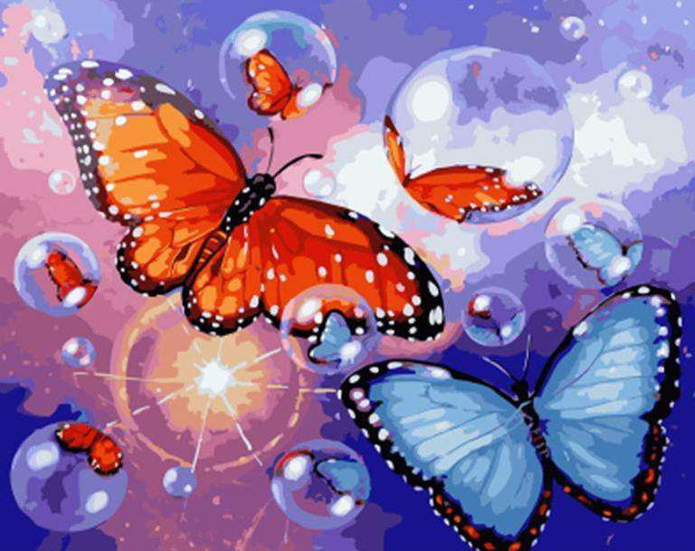 Bubble Butterflies - Paint by Numbers Kits for Adults DIY - Paint by Numbers for Adults