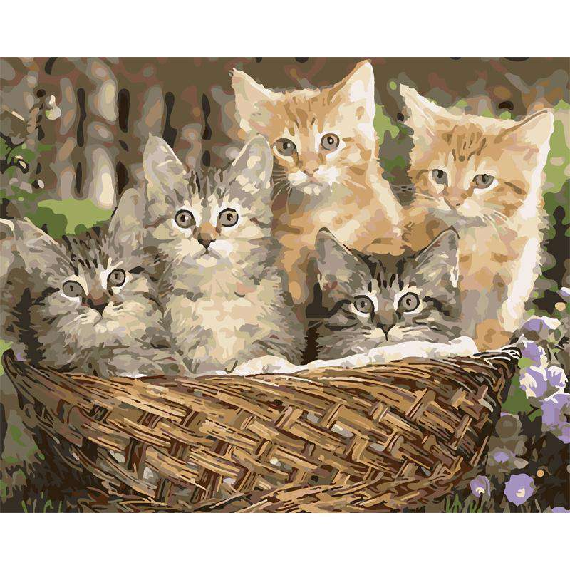 Cats Basket - Paint by Numbers Kits for Adults DIY