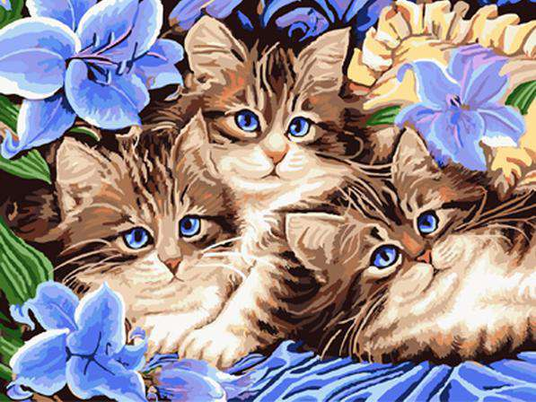 Cats in the Blue Garden - Paint by Numbers Kits for Adults DIY