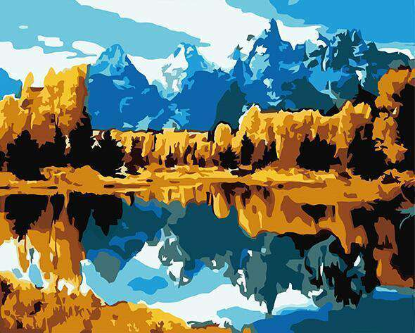 Cold Mountain and Beautiful Lake -  Paint by Numbers Kits for Adults DIY