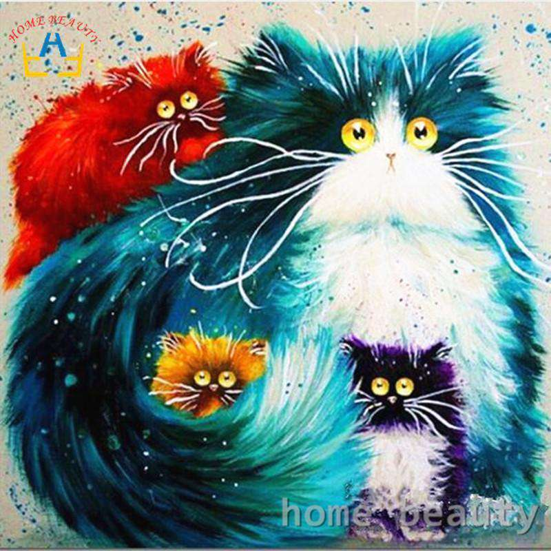 Color Cats - Paint by Numbers Kits for Adults DIY