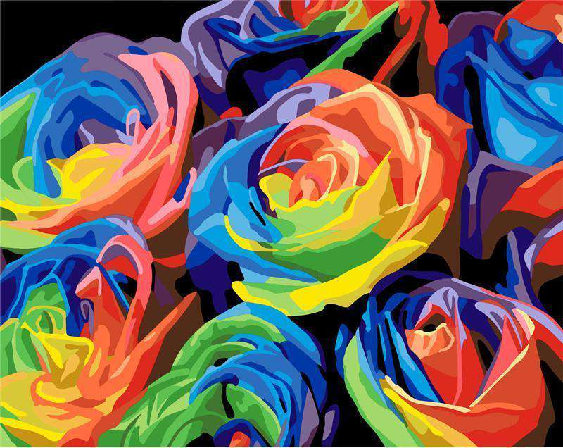 Colorful Roses - Paint by Numbers Kits for Adults DIY