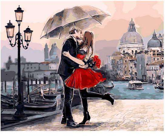 Couple Under Umbrella - Paint by Numbers Kits for Adults DIY - Paint by Numbers for Adults