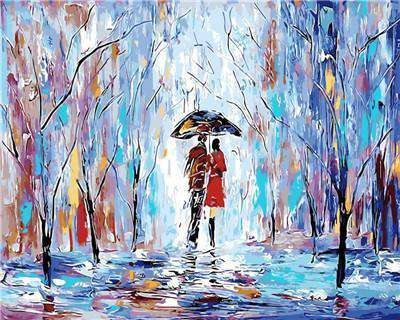 Couple walking in a Cold Day - Paint by Numbers Kits for Adults DIY - Paint by Numbers for Adults