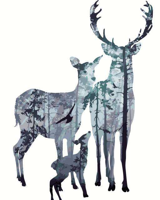 Deer Family Winter Background - Paint by Numbers Kits for Adults DIY