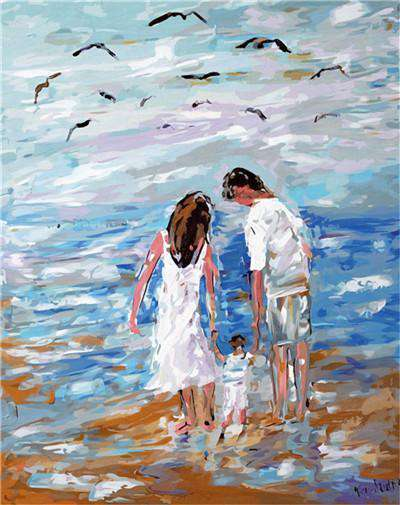 Family on the beach - Paint by Numbers Kits for Adults DIY