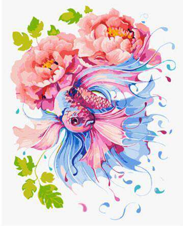 Fish and Flowers - Paint by Numbers Kits for Adults DIY
