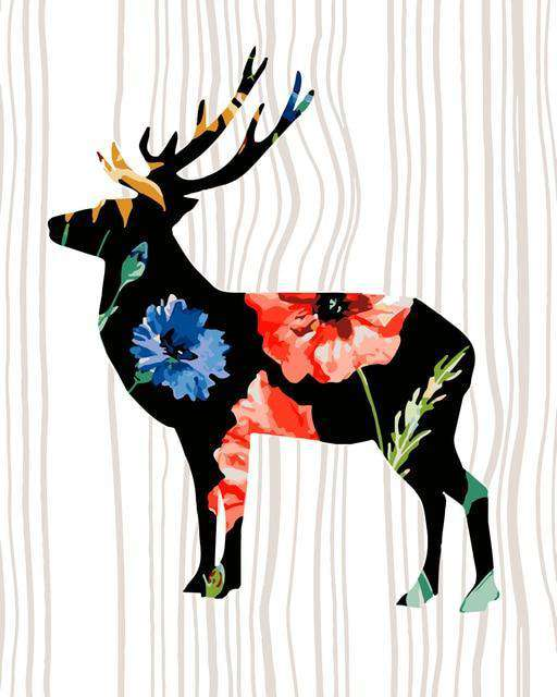 Flowered Deer - Paint by Numbers Kits for Adults DIY