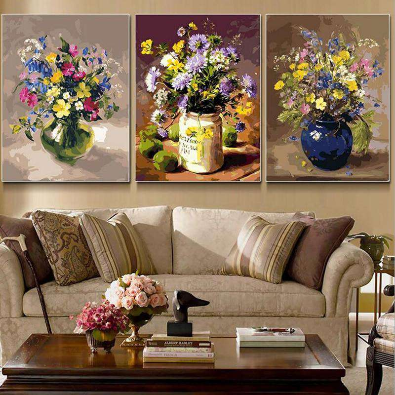 Flowers in Vase 3 Pcs Set - Paint by Numbers Kits for Adults DIY