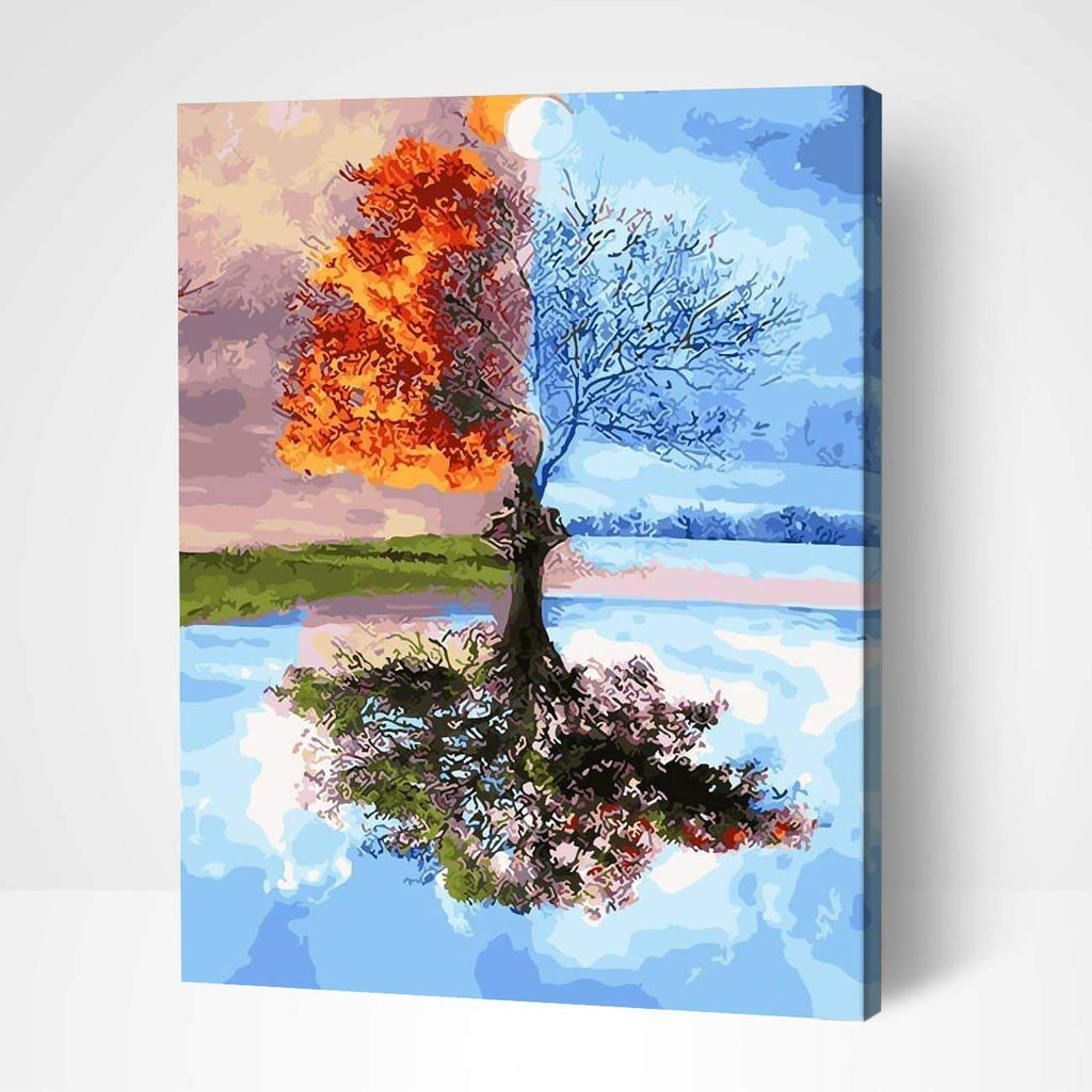 Four Seasons Tree Landscape - Paint by Numbers Kits for Adults DIY - Paint by Numbers for Adults
