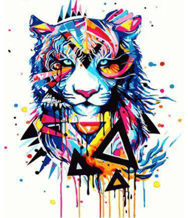 Geometric Tiger - Paint by Numbers Kits for Adults DIY - Paint by Numbers for Adults