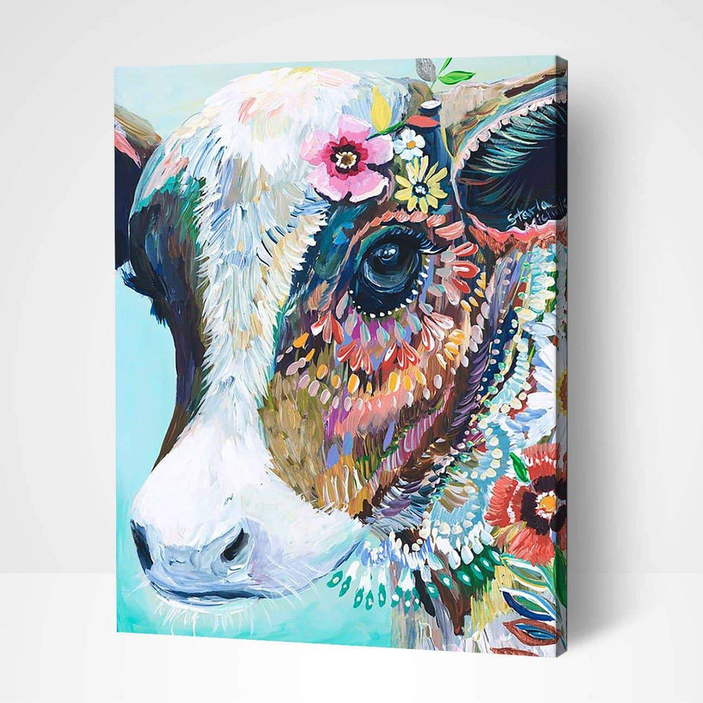 Gipsy Hipster Cow - Paint by Numbers Kits for Adults DIY - Paint by Numbers for Adults