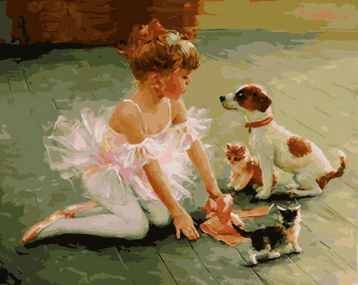 Girl with Puppies and Kitties - Paint by Numbers Kits for Adults DIY
