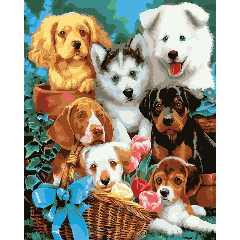 Happy Dogs Basket - Paint by Numbers Kits for Adults DIY - Paint by Numbers for Adults