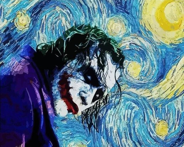 Joker on Starry Night - Paint by Numbers Kits for Adults DIY - Paint by Numbers for Adults