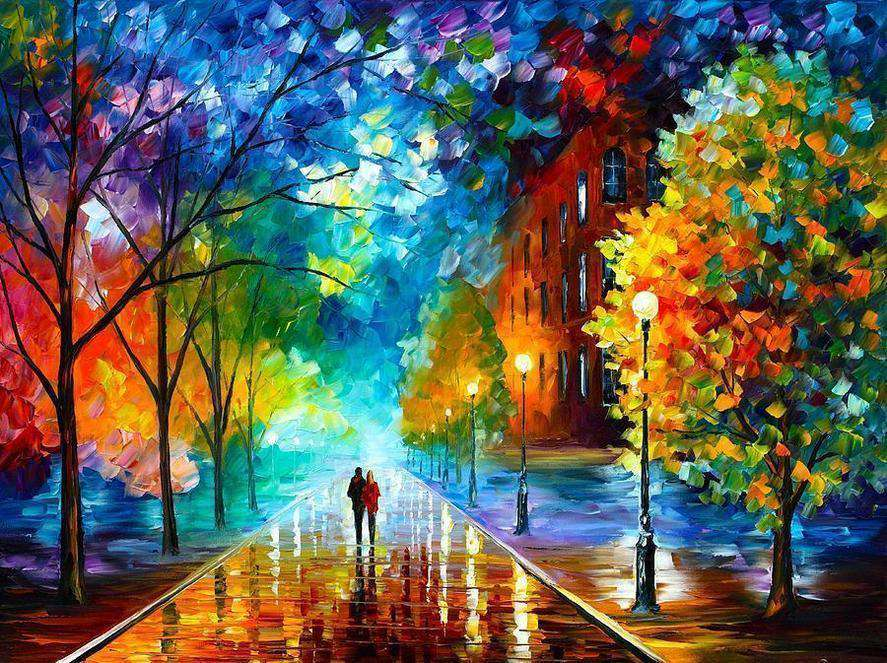 Lovers Walk on the Street - Paint by Numbers Kits for Adults DIY