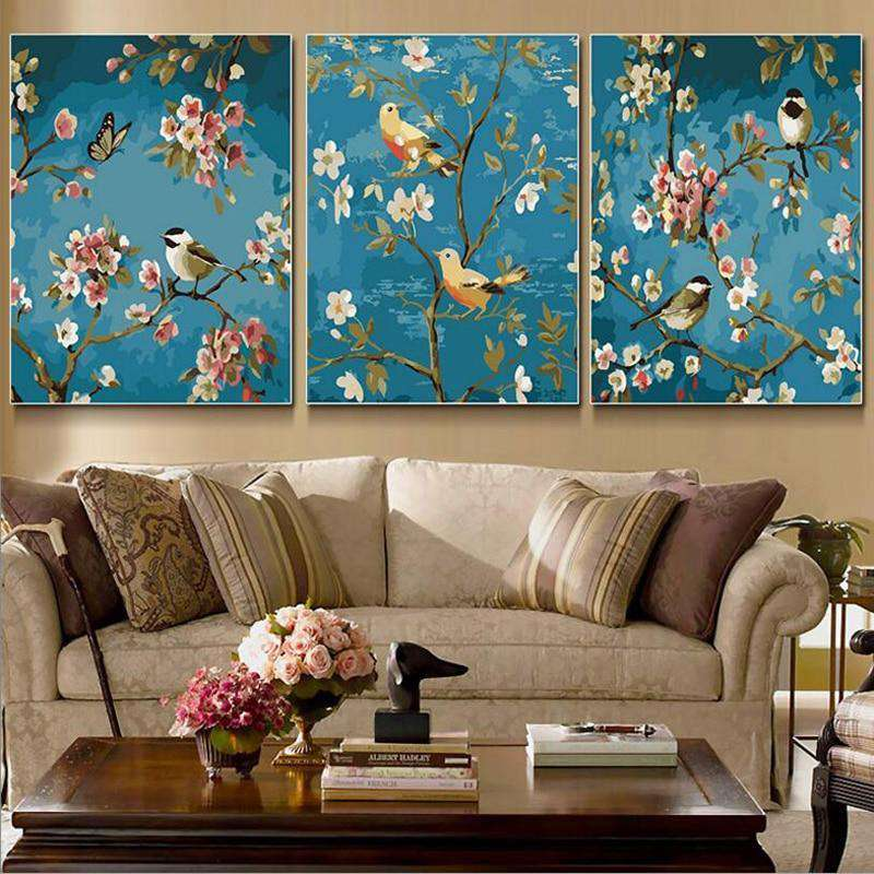 Magpie Tree Flower 3 Pcs Set - Paint by Numbers Kits for Adults DIY - Paint by Numbers for Adults