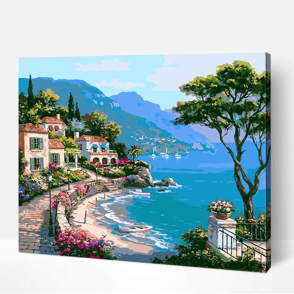 Mediterranean Sea Landscape - Paint by Numbers Kits for Adults DIY - Paint by Numbers for Adults