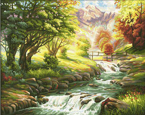 Mountain and Brook - Paint by Numbers Kits for Adults DIY - Paint by Numbers for Adults