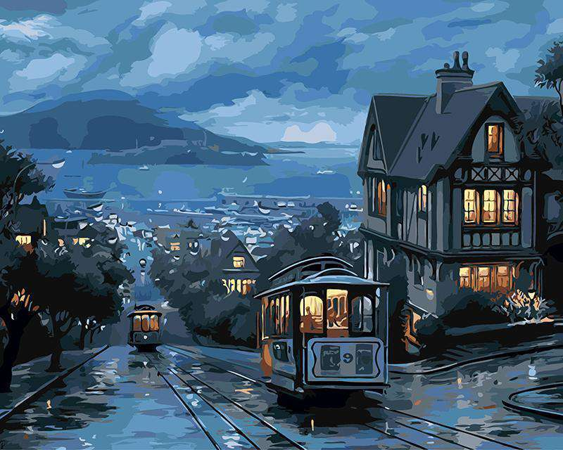 Night Tram - Paint by Numbers Kits for Adults DIY