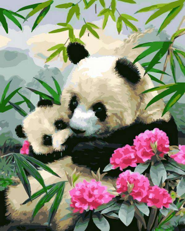 Panda Mom and Son - Paint by Numbers Kits for Adults DIY