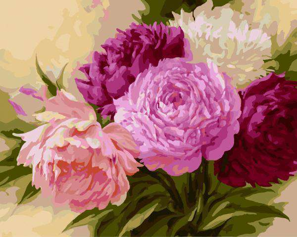 Pink Flowers - Paint by Numbers Kits for Adults DIY
