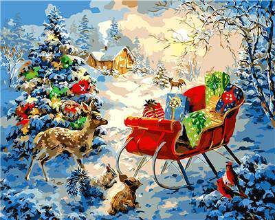 Reindeer and Sleigh Christmas Evening - Paint by Numbers Kits for Adults DIY - Paint by Numbers for Adults