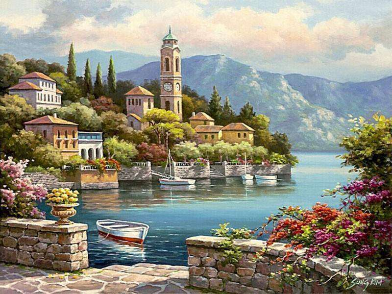 Romantic Harbor Seascape - Paint by Numbers Kits for Adults DIY - Paint by Numbers for Adults