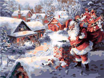 Santa Claus on the Roof - Paint by Numbers Kits for Adults DIY - Paint by Numbers for Adults