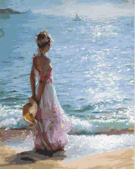 Sea girl in a sunny day - Paint by Numbers Kits for Adults DIY - Paint by Numbers for Adults